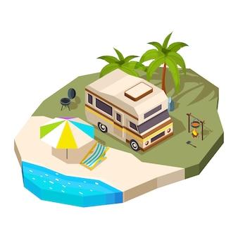 Camping car à la mer.
