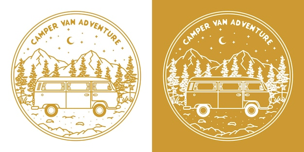 Camping-car monoline dessiné à la main dans les montagnes