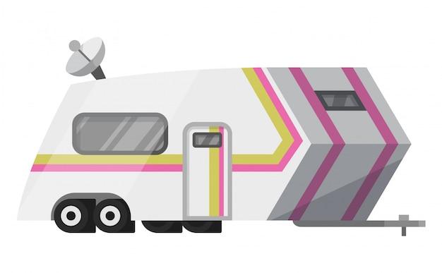 Camping-car plat classique. véhicule récréatif. maison sur roues. caravane confort pour vr voyage en famille dans la nature.
