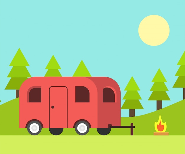 Camping-car et scène de camping le jour