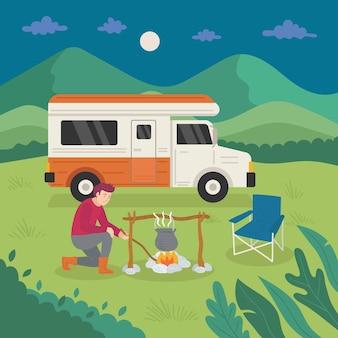 Camping avec une caravane et un homme