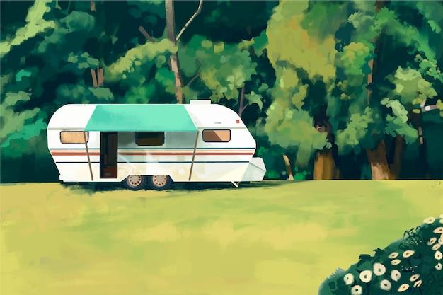 Camping avec une caravane