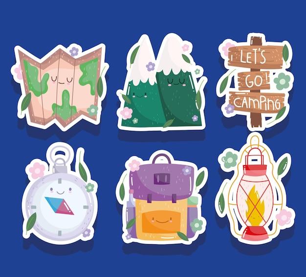 Camping carte montagnes boussole lanterne bacpack en style cartoon