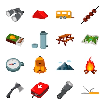 Camping cartoon vector icon set. illustration vectorielle de camping.