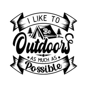 Camping citations svg design lettrage vecteur