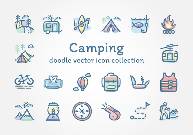 Camping collection d'icônes vectorielles doodle