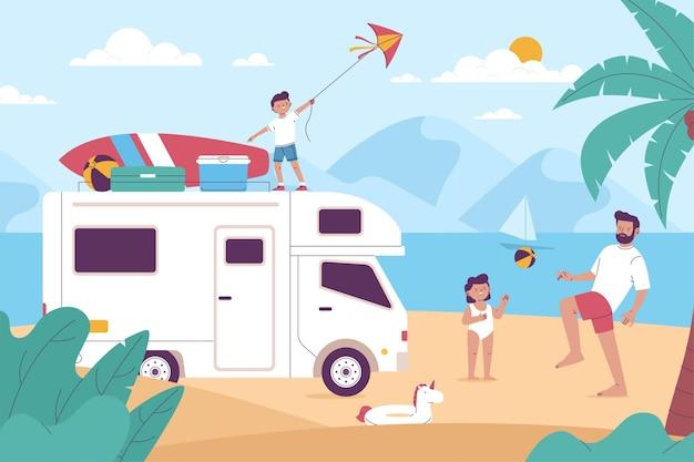 Camping avec un concept d'illustration de caravane