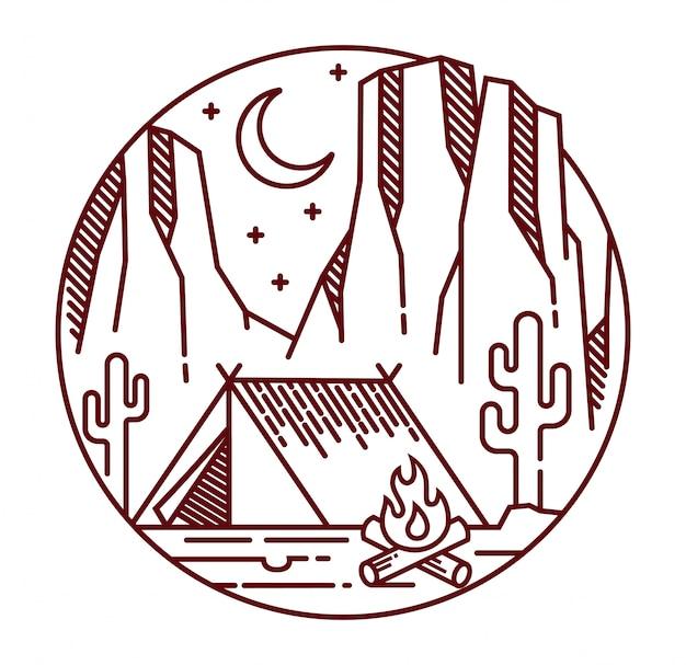 Camping dans le désert à l'illustration de la ligne de nuit