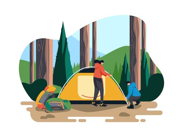 Camping dans l'illustration de la forêt