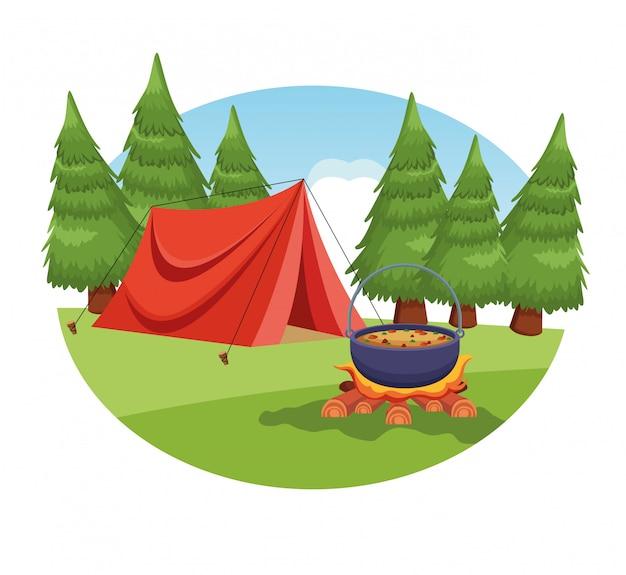 Camping éléments dans un paysage rural