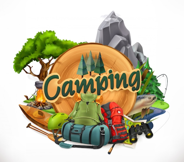 Camping, emblème 3d