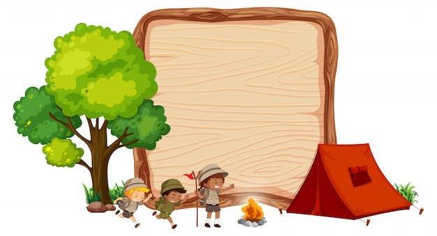 Camping enfants sur bannière en bois