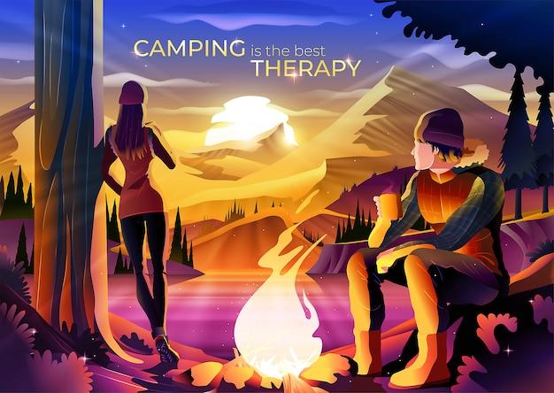 Le camping est l'illustration du concept de la meilleure thérapie
