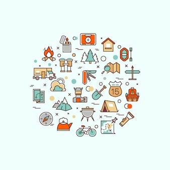 Camping d'été, escalade, trekking, randonnée, alpinisme, sports extrêmes, plein air avec icônes de la ligne