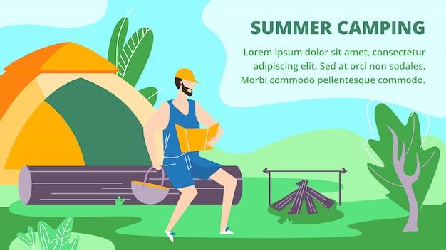 Camping d'été en forêt, vacances, loisirs bannière horizontale