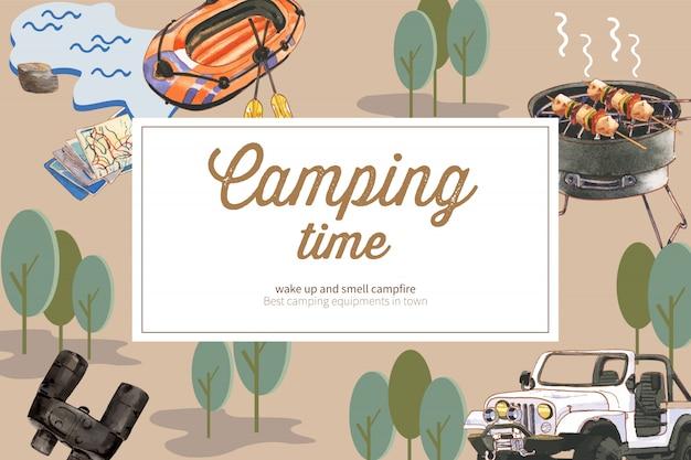 Camping fond avec bateau, jumelles et nourriture en conserve, illustrations de voiture.