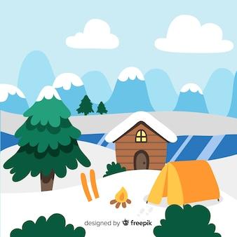 Camping sur fond d'hiver de lac gelé