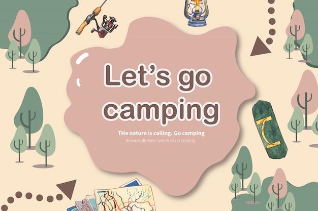 Camping fond avec illustration de tige, bois de chauffage, barbecue et poisson.