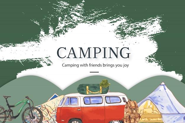 Camping fond avec illustrations de fourgon, vélo, carte et chapeau de seau.