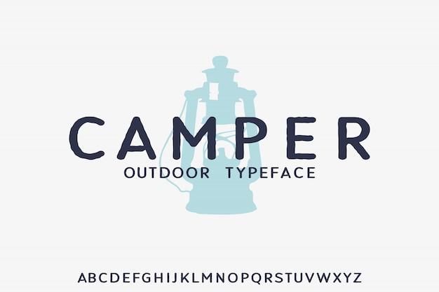 Camping, forme géométrique police vectorielle typeface alphabet typeset