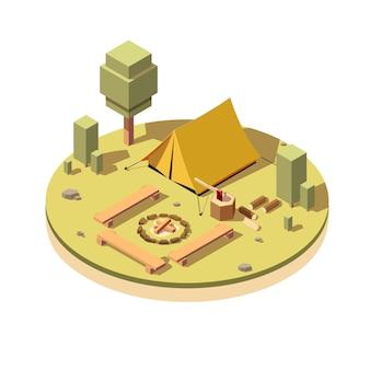 Camping avec l'icône de feu de camp