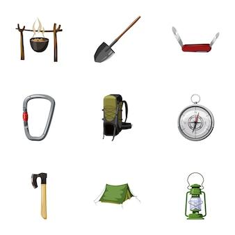 Camping icônes définies, style de bande dessinée