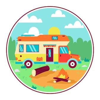 Camping avec une illustration de caravane