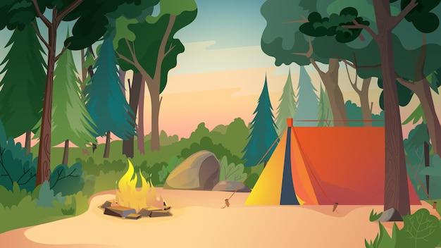 Camping Sur Illustration De Style Dessin Animé Plat Pré De Fond Web Vecteur Premium