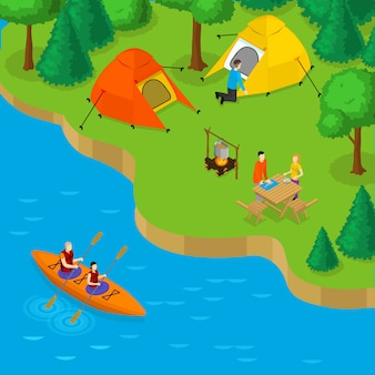 Camping isométrique et concept de loisirs actifs