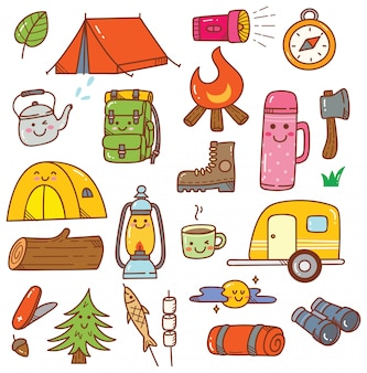 Camping kawaii doodle ensemble