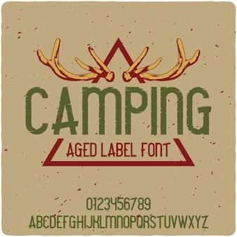 Camping lettrage vintage