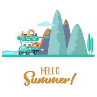 Camping. loisirs de plein air d'été. illustration vectorielle.