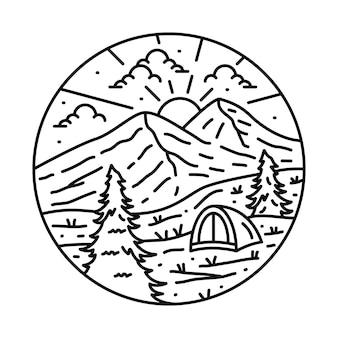 Camping nature aventure dessin au trait sauvage