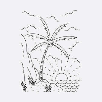 Camping nature aventure ligne sauvage illustration graphique art conception de t-shirt