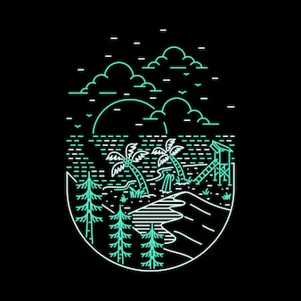 Camping nature aventure sauvage ligne badge patch pin illustration graphique art design de t-shirt