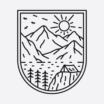 Camping Nature Aventure Sauvage Ligne Insigne Patch épingle Graphique Illustration Art Conception De T-shirt Vecteur Premium
