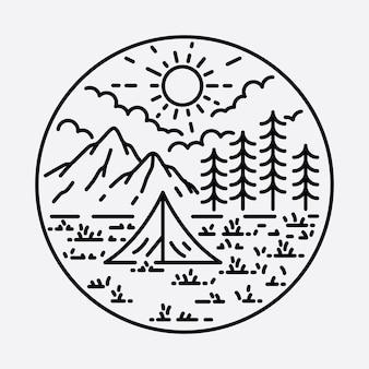 Camping nature aventure sauvage ligne insigne patch épingle graphique illustration art conception de t-shirt
