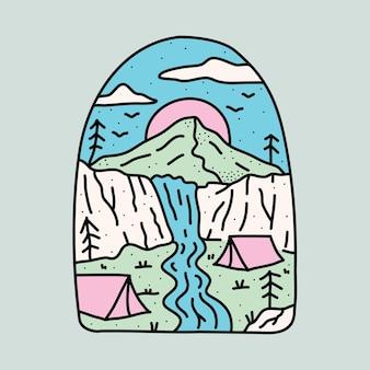 Camping nature avec falaises de beauté et illustration graphique de cascade