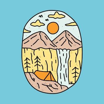 Camping nature avec illustration graphique de montagne de beauté et de cascade