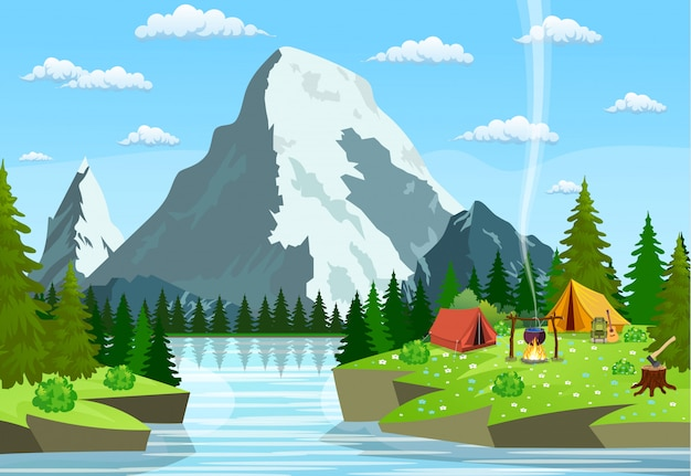 Camping plat illustration vectorielle.