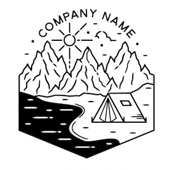 Camping en plein air monoline vintage