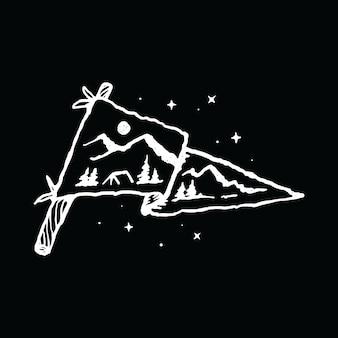 Camping Randonnée Aventure Nature Illustration Graphique Art Vecteur Design De T-shirt Vecteur Premium