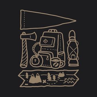 Camping, randonnée, escalade, montagne, illustration