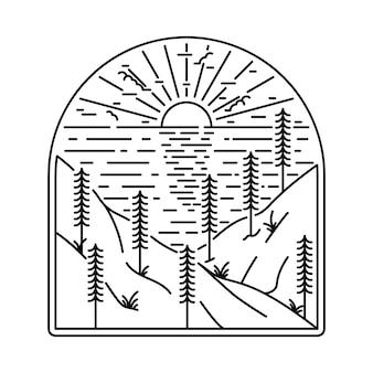 Camping randonnée escalade montagne nature illustration