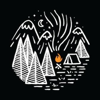 Camping randonnée montagne illustration