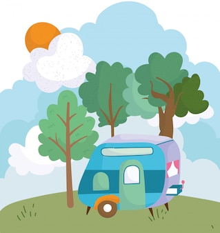 Camping remorque bush arbres prairie soleil nuage dessin animé