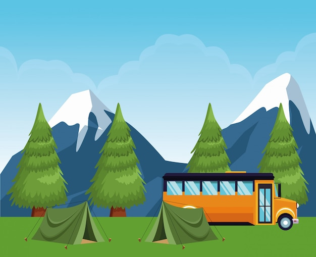 Camping scolaire en forêt avec tentes et bus scolaire