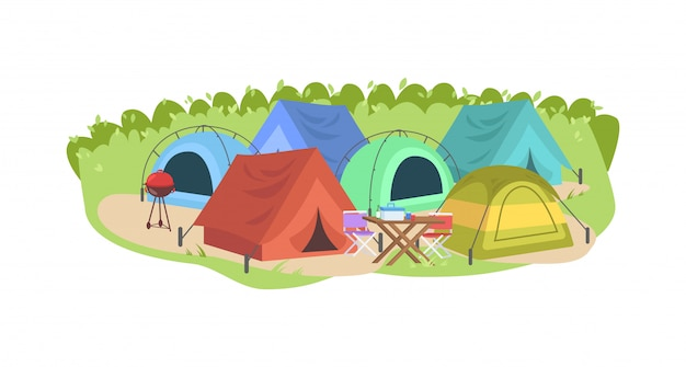 Camping semi illustration