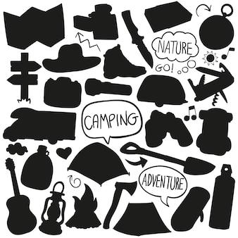 Camping silhouette silhouette vecteur clip art design forme