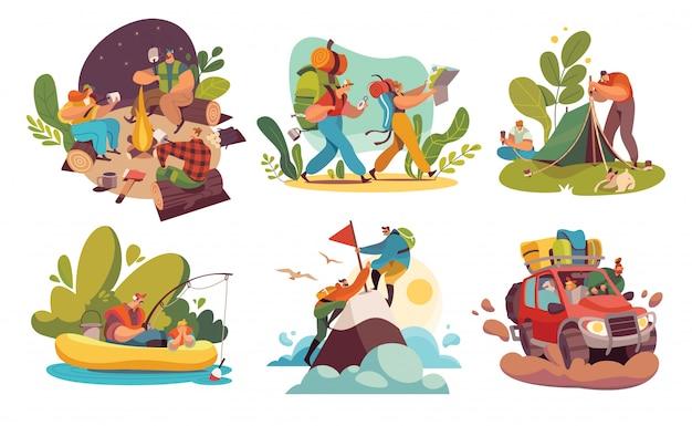 Camping touristique randonnée personnes, aventures dans l'illustration de la nature